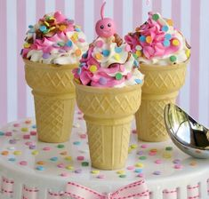 Cupcakes in ice cream cone with frosting and fondant cherry Sundae Cupcakes, Cupcake Cones, Ice Cream Cupcakes, Birthday Cupcakes, Ice Cream Theme, Ice Cream Day, Cupcake Tutorial, Vintage Ice Cream, Different Cakes