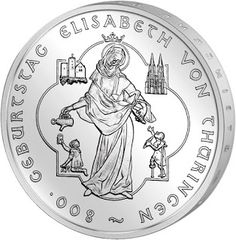 Germany 10 Euro Silver Coin 2007 800th anniversary of the birth of St. Elizabeth of Hungary