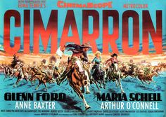 CIMARRON (1960) - Glenn Ford - Maria Schell - Anne Baxter - Arthur O'Connell - Based on the novel by Edna Ferber - Directed by Anthony Mann - MGM - Movie Poster.