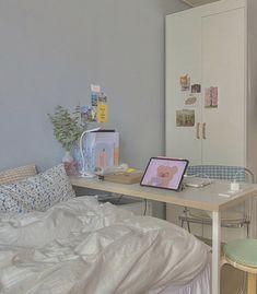Study Room Decor, Room Ideas Bedroom, Bedroom Decor, Bedroom Inspo, Korean Bedroom, Pastel Room, Minimalist Room, Aesthetic Room Decor, Cozy Room