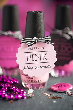 Bachelorette Party Favor Ideas: OPI nail polish favors and matching pin-back buttons | Evermine Blog | Favor Tags: www.evermine.com #wedding #bacheloretteparty #prettyinpink