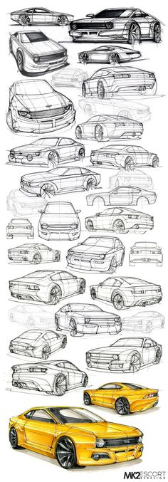 A redesign of the Ford Escort for my Minor-Dissertation in Industrial Design. The Design is based off the Toyota BRZ platform as for sustainable manufacturing considerations. Lowrider Drawings, Car Drawings, Car Design Sketch, Car Sketch, Office Cabin Design, Industrial Design Sketch, Car Illustration, Ford Escort, City Car