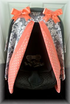 Items similar to carseat canopy, car seat cover, coral, gray, grey, polka dots, chevron, bows, baby, salmon, infant girl, baby girl, baby boy, infant boy on Etsy