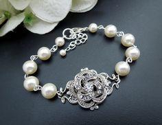 Bridal Rhinestone Bracelet, Rose Rhinestone, Ivory Or White Pearls, Pearl and Rhinestone Bracelet, Bridal Cuff, Pearl, Rose, ROSELANI