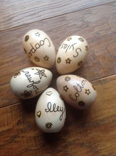 Personalized wood burned Easter Egg - wooden eggs - two sided by BurnwoodCreations on Etsy