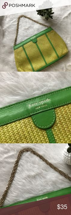 Kate Spade green and yellow straw vacation clutch Kate Spade green and yellow straw vacation clutch with short shoulder gold chain. Eccentric, fun and great condition! approximately  14 x 8 inches x 1.5 inches deep. Some minor wear. Lining is cute eclectic print. Gold shoulder shortchain. Perfect weekend, cruise or vacation bag 🏝🌞 Related: Kate Spade clutch, Kate Spade vacation bag kate spade Bags Shoulder Bags