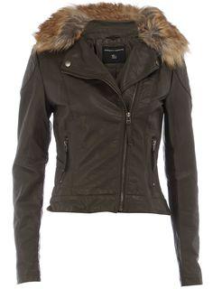 fur collar biker jacket #RDStepIntoFall