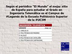 El mejor Campus de #España para estudiar el #Grado en Ingeniería #Telemática es el Campus de #Leganés de la Escuela Politécnica Superior de la Universidad Carlos III de Madrid #uc3m