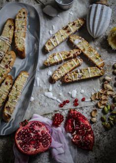 pomegranate pistachio and lemon biscotti