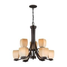 Lite Source LS-18969 Orazio 9 Light Chandelier This item by Lite Source is available in a dark bronze finish. Illuminated by nine 60-watt frosted incand…458.00