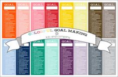 free goal charts at kiki and company. 16 colors! #free