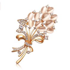 Flower Bunch Brooch With Opal and Rhinestones