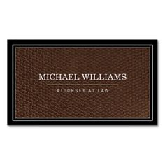 Designed for attorneys and law firms - the faux brown grain leather business card template gives a classic and sophisticated first impression. Just click on the image to personalize the front and back of the card with your own info. Printed on high quality card stock. Fast shipping.