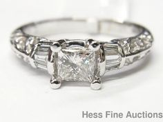 GIA 0.52ct Center Ex/G Princess Diamond VS2 H 18k White Gold Ring Brand New #SolitairewithAccents