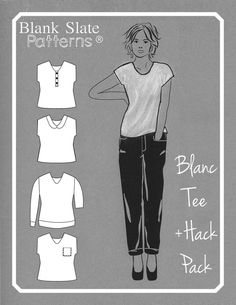 Blanc Tee Hack Pack sewing pattern by Blank Slate Patterns; does not contain the Blanc Tee pattern, which must be purchased separately T Shirt Sewing Pattern, Sewing Patterns Free, Shirt Patterns, Clothing Patterns, Sewing Hacks, Sewing Tutorials, Sewing Tips, Sewing Ideas, T Shirt Hacks