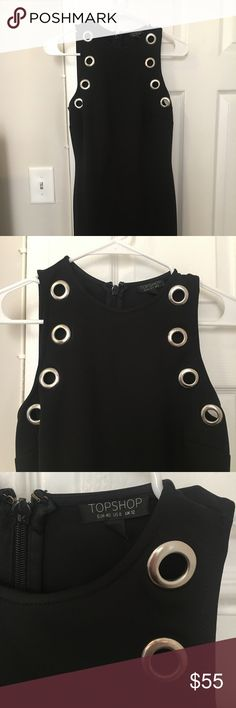 Topshop Black Dress! Topshop NEW black dress with silver gromets! Soft stretchy material, sleeveless. Only worn once. Size 8, fitted cut but not too tight. Great for a cocktail party or night out! Topshop Dresses Mini
