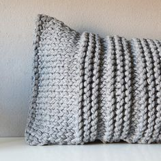 Grey knitted pillow by HomeSweetHomeDesign on Etsy,