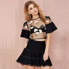 HDY Haoduoyi Black Women Shirts Butterfly Sleeve Crew Neck Floral Embroidery Crop Tops Women Sheer Slim Casual Basic Blouses