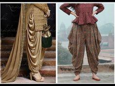 Dhoti Salwar Cutting & Stitching in Tamil Salwar Designs, Kurti Neck Designs, Dress Neck Designs, Blouse Designs, Dhoti Salwar Suits, Patiala Pants, Sharara, Patiala Salwar, Punjabi Suits
