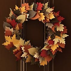 Whole thing covered in leaves may take too long. Cover wreath in burlap and do the leaves off to the side