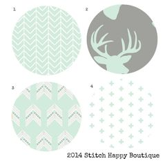 Custom Baby or Toddler Nursery Bedding in modern mint and grey. Features chevron and arrows both popular this season! This is a nursery bedding basic set and includes: - 2 fitted crib sheets - 1 Baby blanket backed in super soft minky - 1 crib skirt    by StitchHappyBoutique