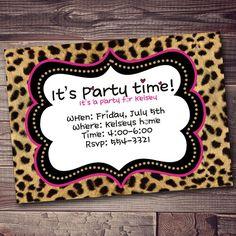 Cheetah Birthday Invitation Print Custom Color Border Party With FREE Wording Customization