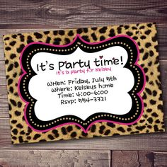 Hey, I found this really awesome Etsy listing at https://www.etsy.com/listing/165619187/cheetah-print-party-invitation-with-free