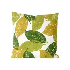 """Liora Manne Mystic Leaf Indoor/Outdoor Throw Pillow Size: 20"""" H x 20"""" W, Color: Green"""