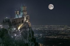 The castle and the moon, San Marino, Italy