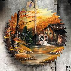 Vintage painting on a saw sawblade sawbladeart gristmill mill acrylic westbottoms westbottomskc kcmo Painting Tools, Tole Painting, Painting On Wood, Painting & Drawing, Arte Van Gogh, Scrap Metal Art, Rock Art, Painting Inspiration, Painted Rocks
