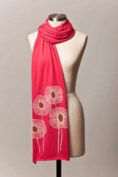 pineapple flowers jersey knit scarf raspberry by flytrap on Etsy, $25.00