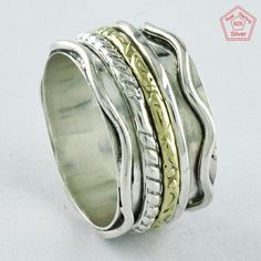 Sz 8 US, INCREDIBLE CRISSEL DESIGN 925 STERLING SILVER SPINNER RING,R4441 #SilvexImagesIndiaPvtLtd #Spinner #AllOccasions