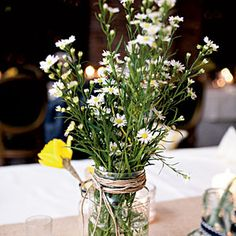 Wedding Table Centerpieces | Rustic Wildflower Centerpiece | SouthernLiving.com