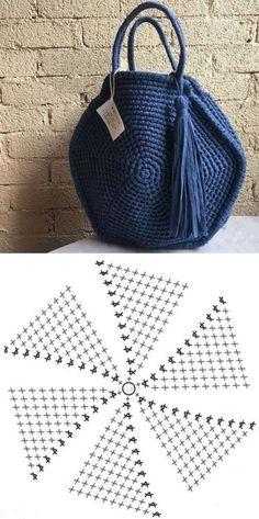 Faça e venda: Bolsa de fio de malha com gráfico dos pontos ⋆ De Frente Para O Mar - - Crochet Tote, Crochet Handbags, Crochet Purses, Love Crochet, Crochet Stitches, Knit Crochet, Knitting Patterns, Crochet Patterns, Knitting Tutorials