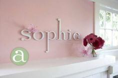 """Amazon.com: Wooden Hanging Wall Letters """" a """" - White Hanging Decorative Wood Letters for Children's, Nursery & Baby's Room, Baby Name Wall Letters, Girls Bedroom Wall Hanging Letter Décor.: Home & Kitchen $9 each letter"""
