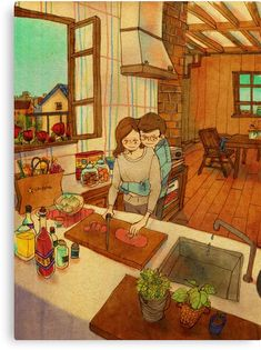 These Heartwarming Drawings By A Korean Artist Show What True Love Is Couple Illustration, Illustration Art, Art Illustrations, Puuung Love Is, Art Amour, Korean Artist, Couple Art, What Is Love, Cute Love