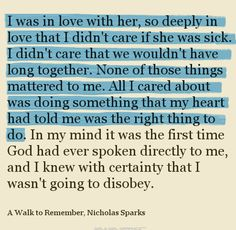 """A Walk to Remember"". ♥  My favorite book & movie of all time!!"