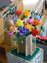origami crane flowers