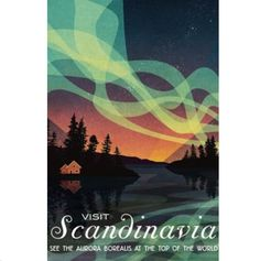 Visit Scandinavia Vintage Retro Travel Poster