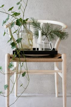 Love the wishbone chair, today with some plants!
