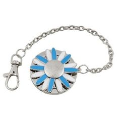 Amico Blue White Sunflower Trigger Clasp Keychain Folding Handbag Hook by Amico. $5.62. Shade : Bright Blue. Color : Blues. Size Type : Regular. Style : standard;Brand : SourcingMap. Material : Metal. Used to hang handbag or purse while your are busy with eating or talking by a table or desk. Rubber attached on the back for firm hanging on the table or desk. Keychain with a trigger clasp for convenient and safe carry and hanging keys.