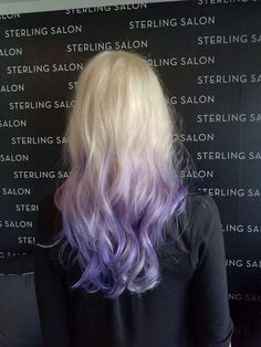 Platinum blonde and purple hair, ombre style