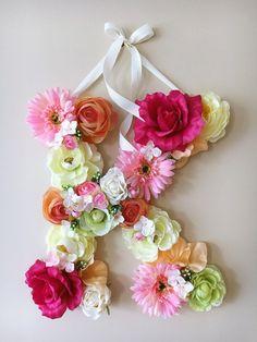 Nursery Wall Letters Flower girl gift Baby pink by PaulettaStore