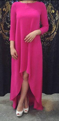 Pink Plain Hollow-out Irregular Long Sleeve Maxi Dress