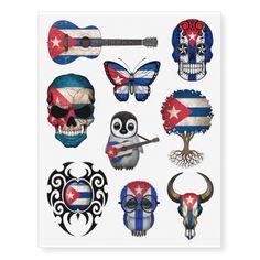 Shop Patriotic Cuban Flags Collection Temporary Tattoos created by TemporaryTattoos. Cuban Tattoos, Indian Tattoos, Puerto Rico Tattoo, Pr Flag, Flag Art, Cuban Flag, Puerto Rican Flag, Skull Tattoos, Tatoos