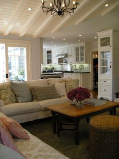 Need a new coffee table and I like this one coffee tables, cottag, living rooms, family rooms, living room designs, hous, kitchen, live room, vaulted ceilings