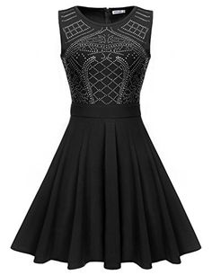 Meaneor Women's Sleeveless Rhinestone Embellished Match and Flare Swing Gown