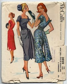 1950s Vintage Sewing Pattern McCalls 3959 Cocktail Sheath Dress and Cummerbund