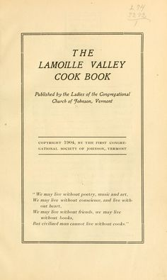 The Lamoille Valley Cook Book By Johnson, Vermont Congregational Church - (1904) - (archive)