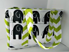 Abstract Elephant Diaper Bag in Black and White with Green Chevron on Etsy, $74.00